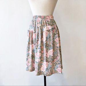 Vintage 80's Pink Floral Pleated Knee Length Skirt